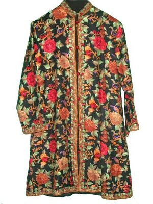 Embroidered Woolen Coat Black, Multicolor Embroidery #AO-104