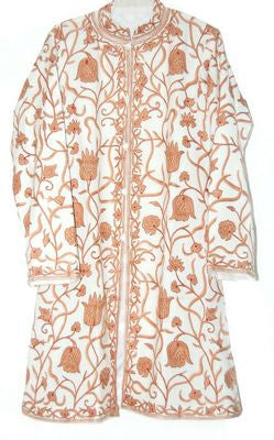Embroidered Woolen Coat White, Rust Embroidery #AO-109