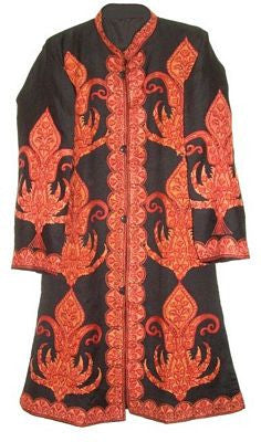 Embroidered Woolen Coat Black, Rust Embroidery #AO-110