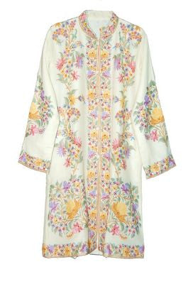 Embroidered Woolen Coat White, Multicolor Embroidery #AO-112