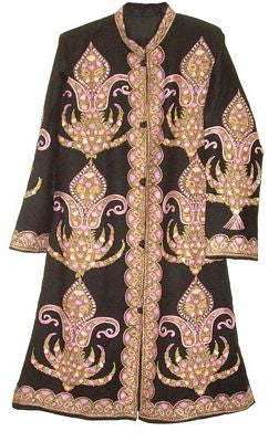 Embroidered Woolen Coat Black, Multicolor Embroidery #AO-114