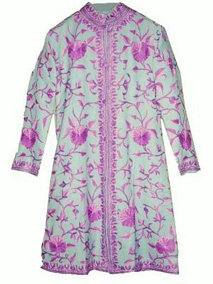 Embroidered Woolen Coat Turquoise in Purple Embroidery #AO-115