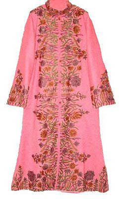Embroidered Woolen Coat Pink in Multicolor Embroidery #AO-117