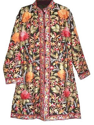 Embroidered Woolen Coat Black, Multicolor Embroidery #AO-118
