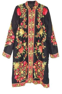 Embroidered Woolen Coat Black, Multicolor Embroidery #AO-122