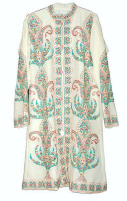 Embroidered Woolen Coat White, Multicolor Embroidery #AO-123