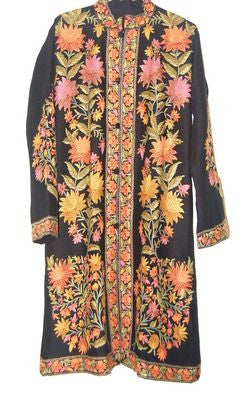 Embroidered Woolen Coat Black, Multicolor Embroidery #AO-124