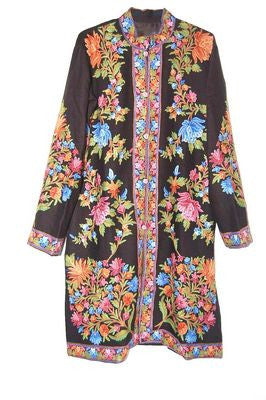 Embroidered Woolen Coat Black, Multicolor Embroidery #AO-125