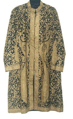 Embroidered Woolen Coat Black, Olive Embroidery #AO-128