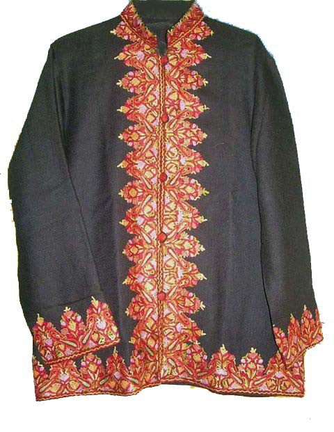 Embroidered Woolen Jacket Black, Multicolor Embroidery #BD-001