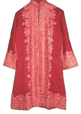 Embroidered Woolen Coat Burgundy in Tone-Tone Embroidery #BD-102