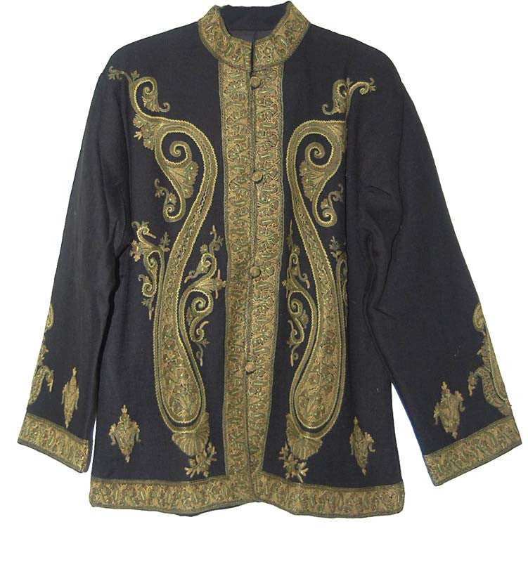 Embroidered Woolen Jacket Black, Green and Olive Embroidery #AO-020