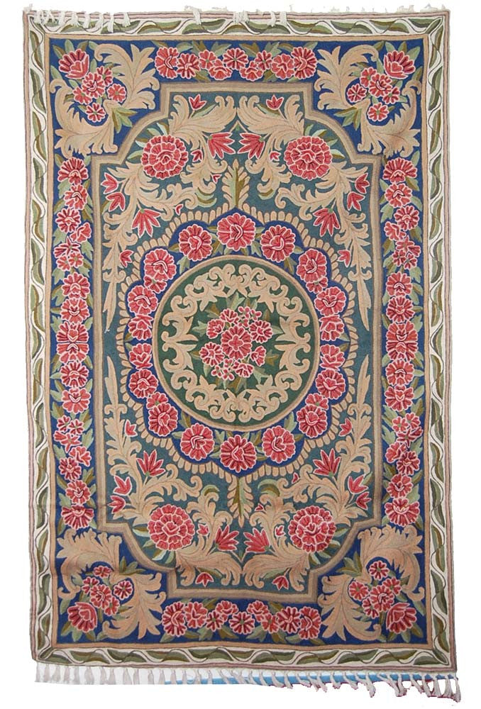 ChainStitch Tapestry Woolen Rug, Multicolor Embroidery 6x4 feet #CWR24102