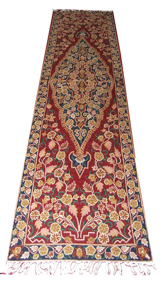 ChainStitch Tapestry Woolen Rug Runner, Multicolor Embroidery 10x2.5 feet  #CWR25101