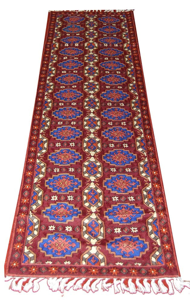 ChainStitch Tapestry Woolen Rug Runner, Multicolor Embroidery 8x2.5 feet #CWR20101