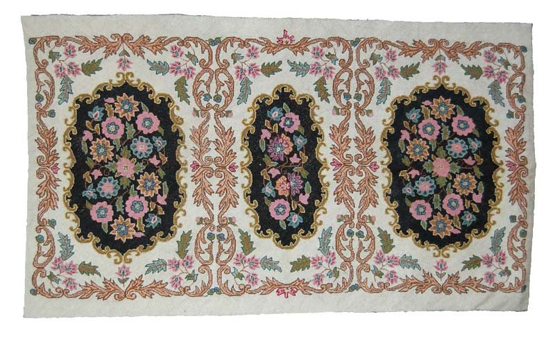 Cross Stitch Woolen Rug, Multicolor Embroidery 3x5 feet #CWR15104