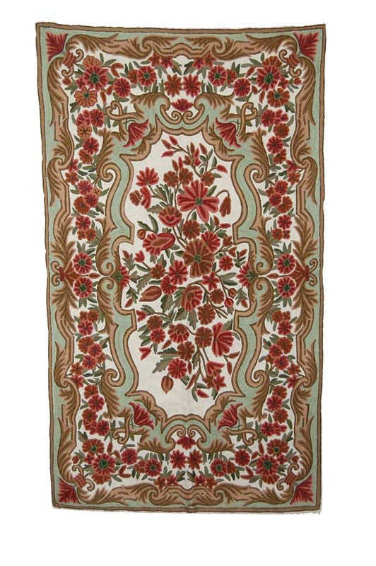 Chain Stitch Embroidered Wool Rug, Multicolor Embroidery 3x5 feet #CWR15113