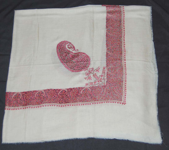 Kashmir Pashmina Cashmere Embroidered Shawl Arab Scarf White, Multicolor #PRM-102