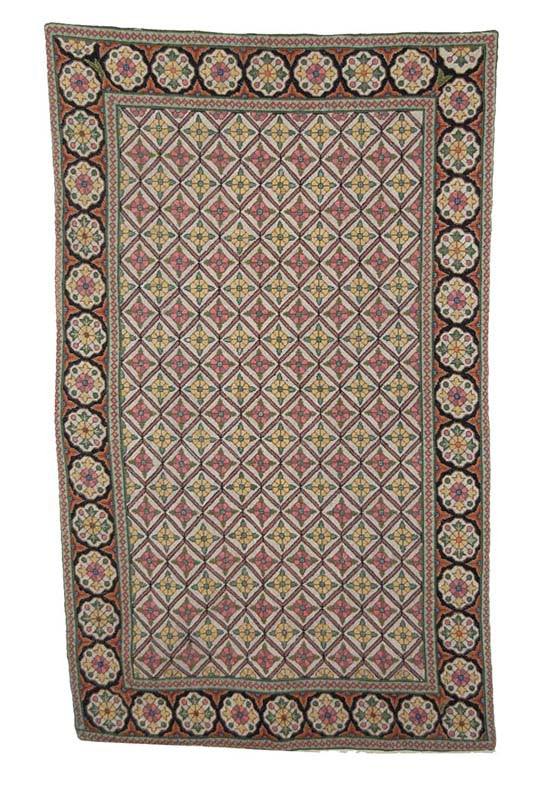 Cross Stitch Woolen Rug Multicolor Embroidery 3x5 Feet