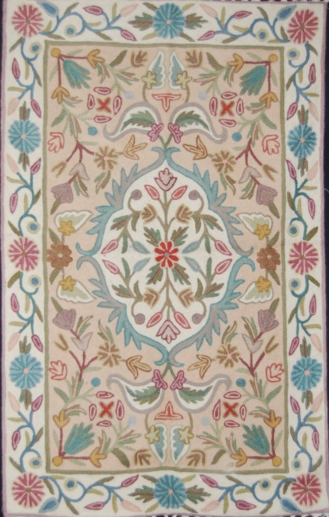 Chain Stitch Embroidered Wool Rug, Beige and White Embroidery 2x3 feet #CWR6202