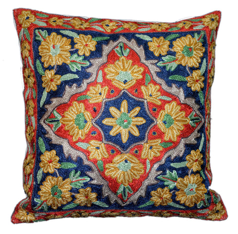 "Chain Stitch Embroidered Cushion Cover, ArtSilk on Cotton 16"" #CW-2011"