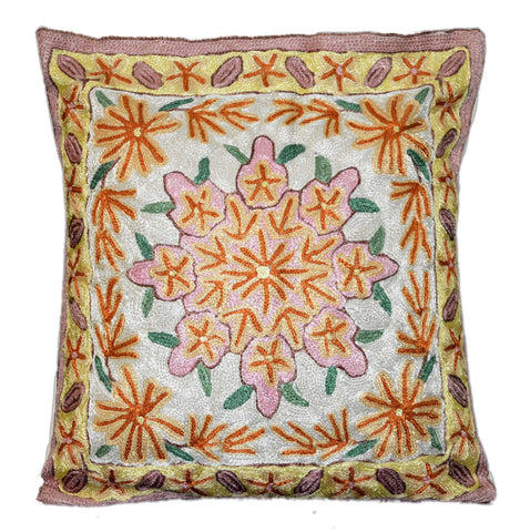"Chain Stitch Embroidered Cushion Cover, ArtSilk on Cotton 16"" #CW-2007"