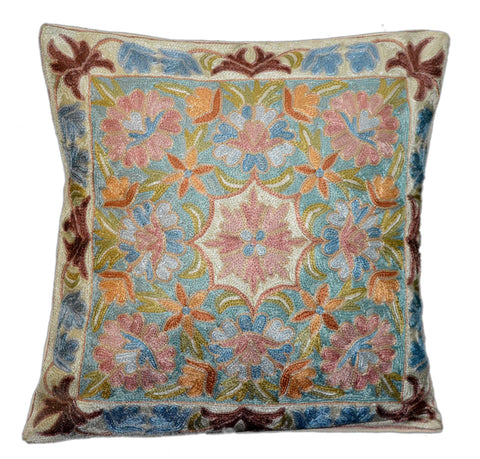 "Chain Stitch Embroidered Cushion Cover, ArtSilk on Cotton 16"" #CW-2012"