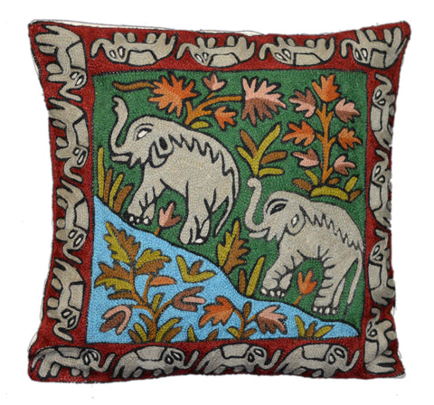 "Chain Stitch Embroidered Cushion Cover, Wool on Cotton 16"" #CW-1004"