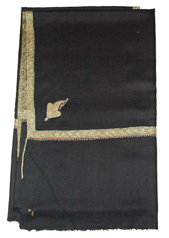Kashmir Pashmina Cashmere Embroidered Shawl Black, Multicolor #PDR-001