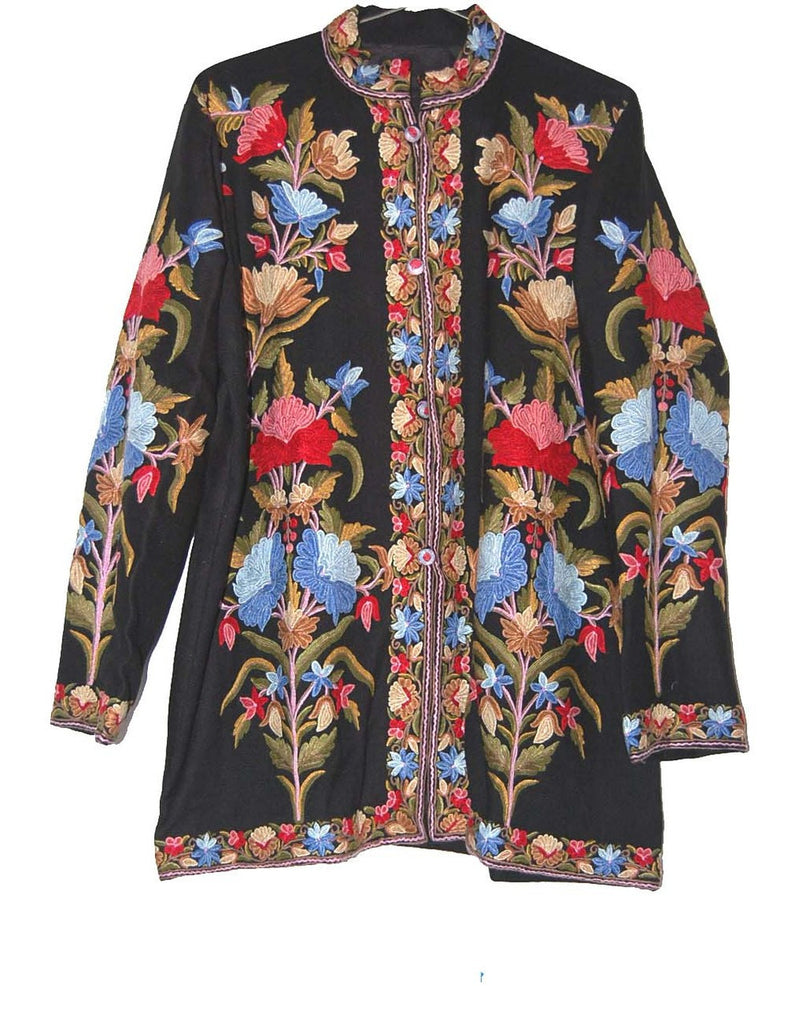 Embroidered Woolen Jacket Black, Multicolor Embroidery #AO-0052