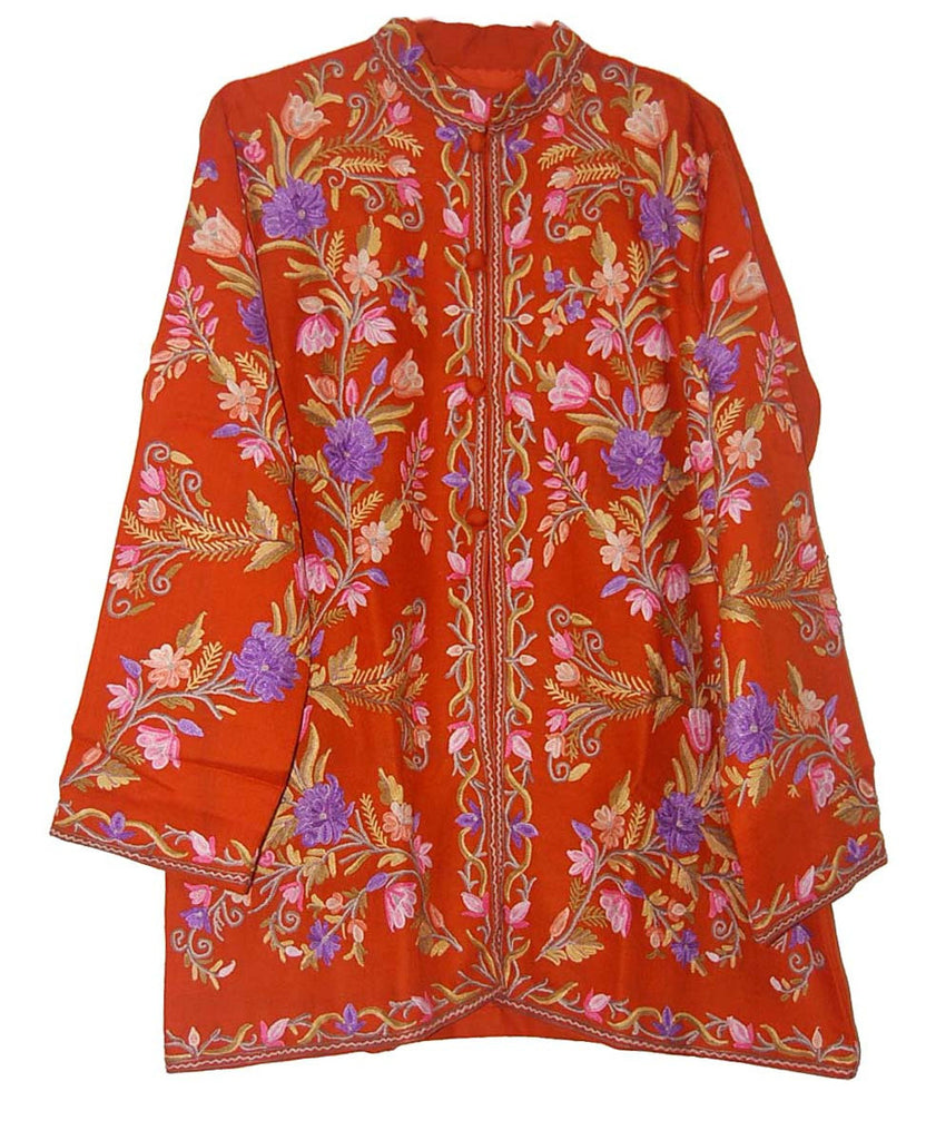 Embroidered Woolen Jacket Orange, Multicolor Embroidery #AO-014