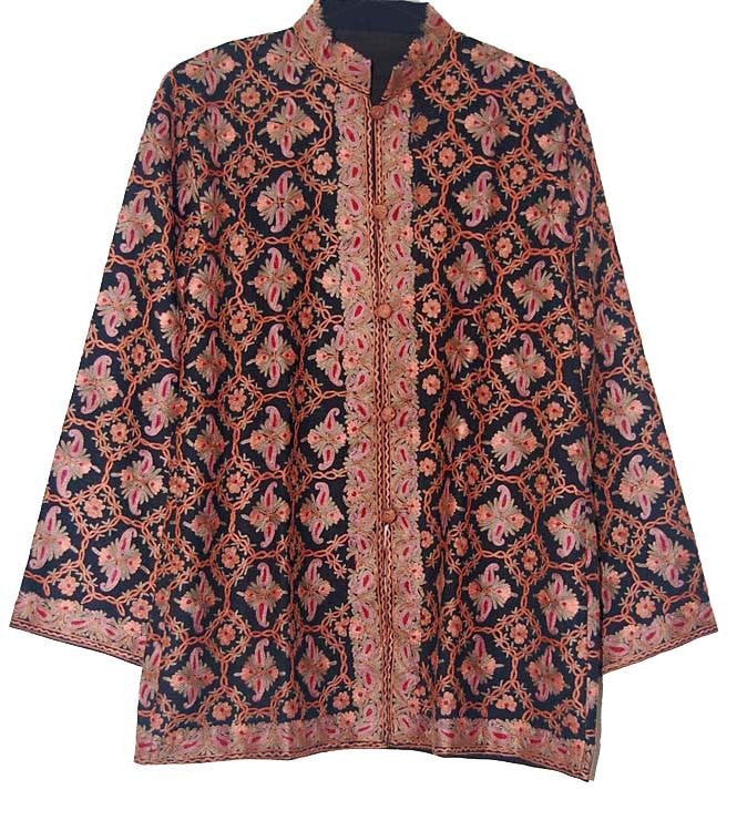 Embroidered Woolen Jacket Black, Multicolor Embroidery #AO-015