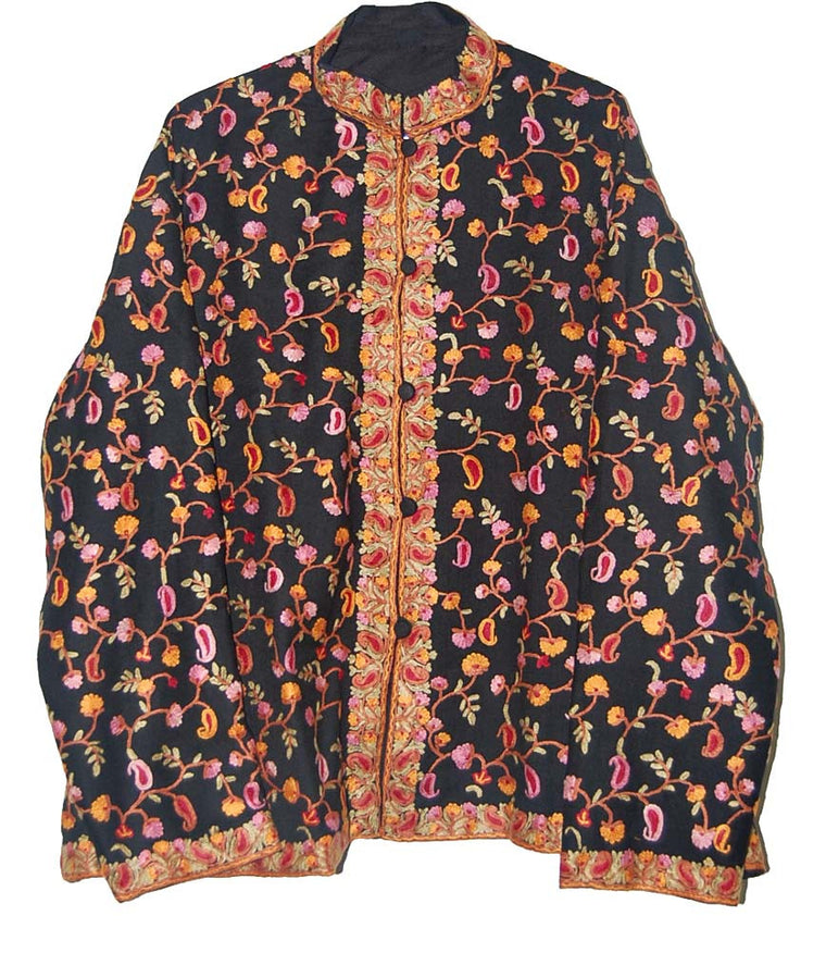 Embroidered Woolen Jacket Black, Multicolor Embroidery #AO-0092 ...