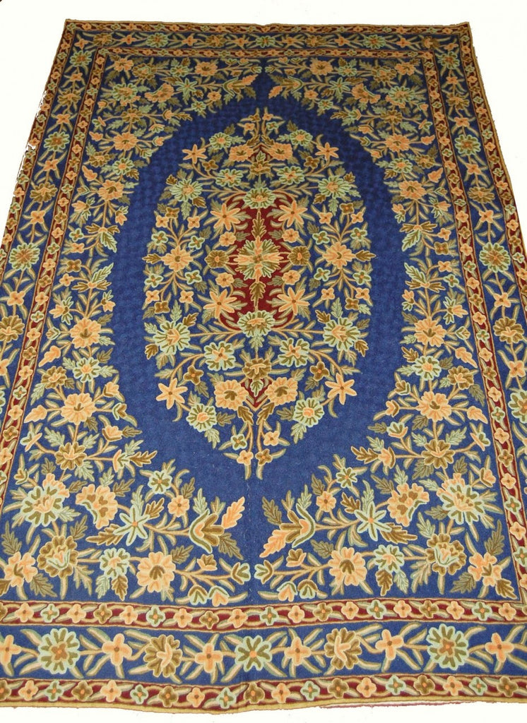 Chain Stitch Embroidered Wool Rug, Multicolor Embroidery 6x9 feet #CWR54105