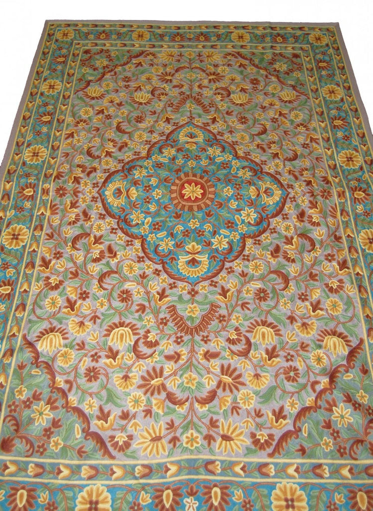 ChainStitch Tapestry Woolen Rug, Multicolor Embroidery 6x9 feet #CWR54103