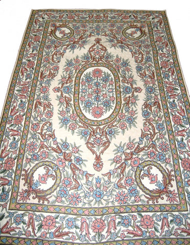 Crewel Chain Stitch Wool Rug, Multicolor Embroidered 6x9 feet #CWR54101