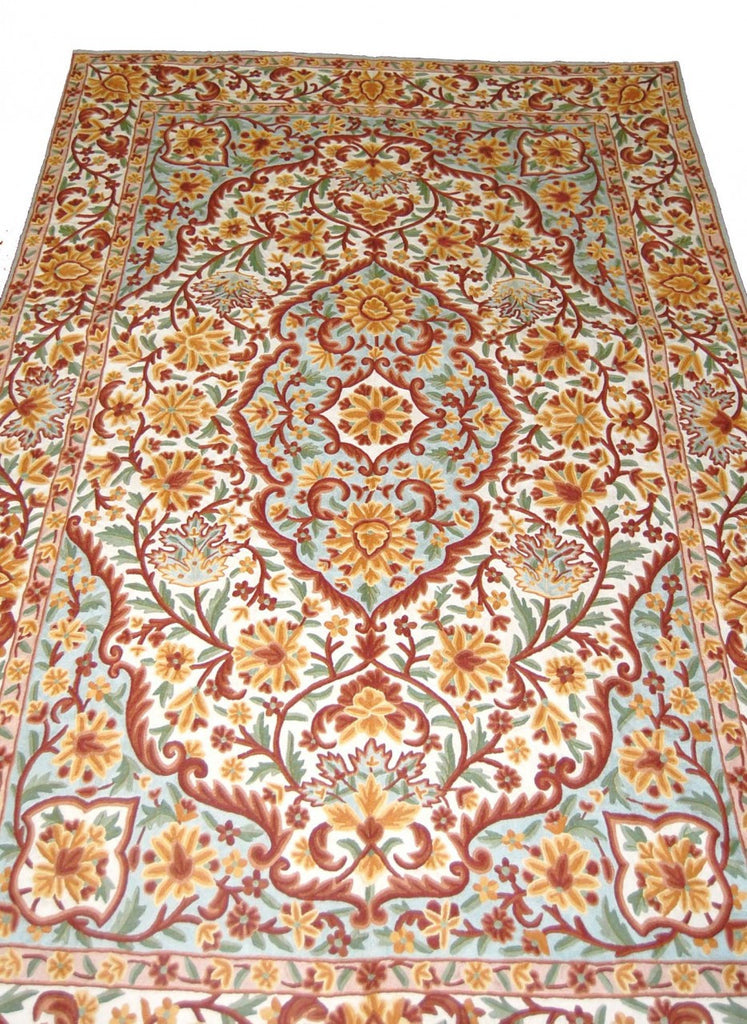 ChainStitch Tapestry Woolen Rug, Multicolor Embroidery 6x9 feet #CWR54104