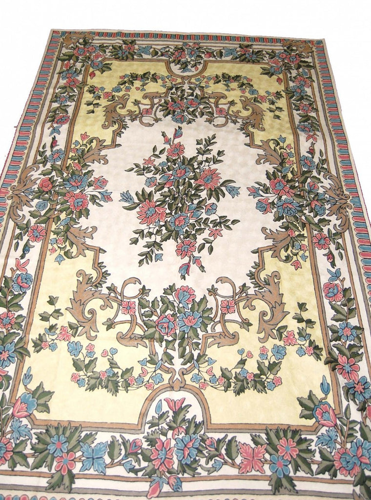 Chain Stitch Embroidered Wool Rug, Multicolor Embroidery 6x9 feet #CWR54102