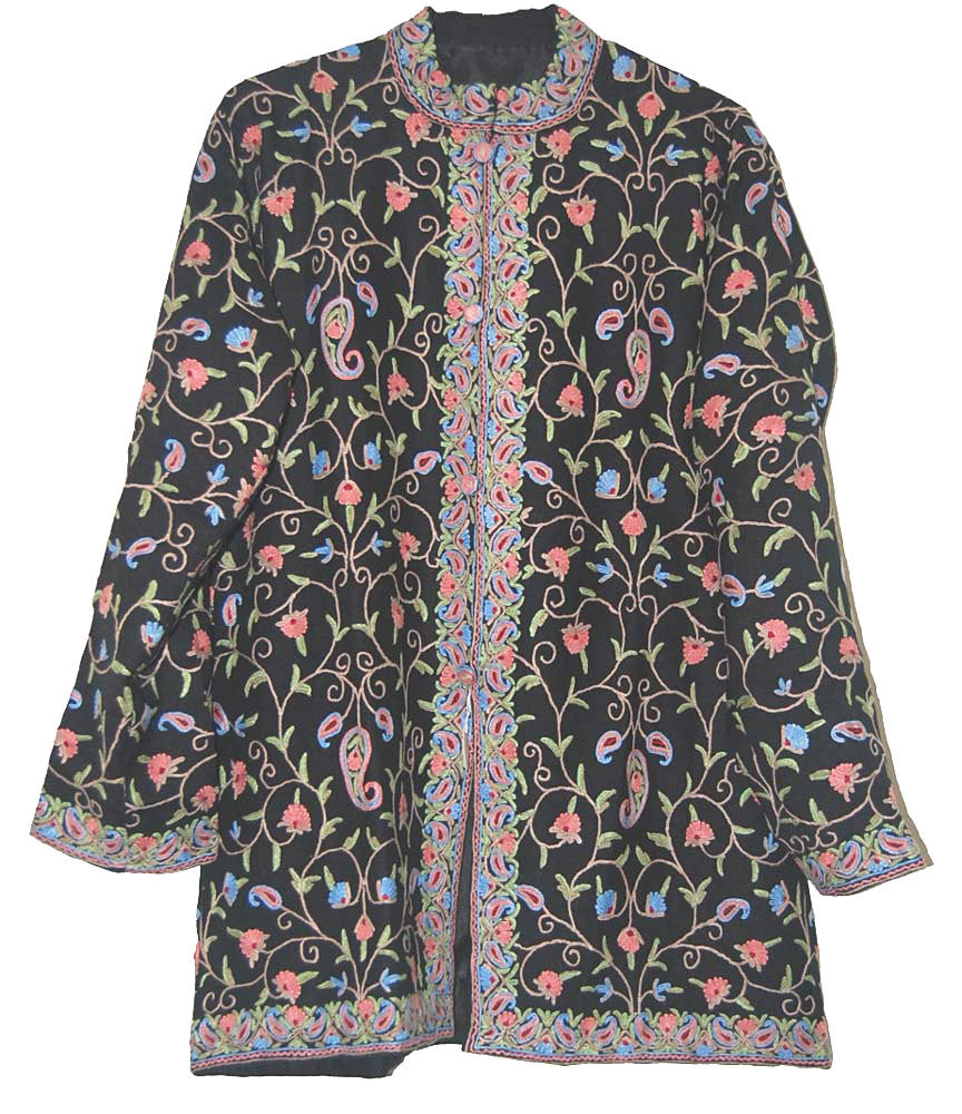 Embroidered Woolen Jacket Black, Multicolor Embroidery #AO-0094