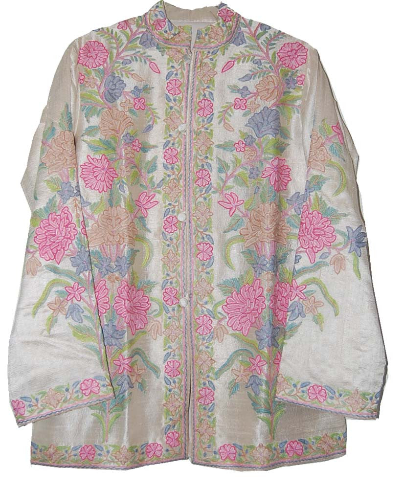 Embroidered Silk Jacket White, Multicolor Pastel Embroidery #AO-018