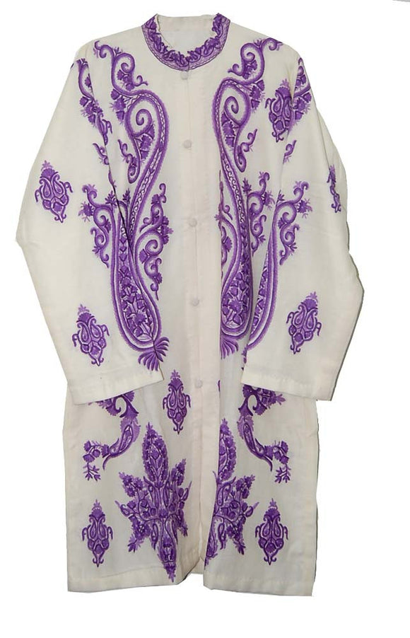 Embroidered Woolen Coat White, Purple Embroidery #AO-1232