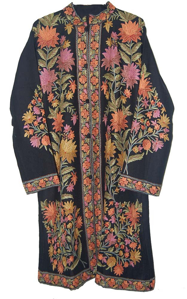 Embroidered Woolen Coat Black, Multicolor Embroidery #AO-1051