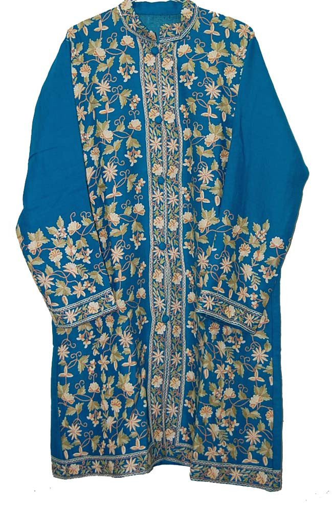 Embroidered Woolen Coat Turquoise in Multicolor Embroidery #AO-1151
