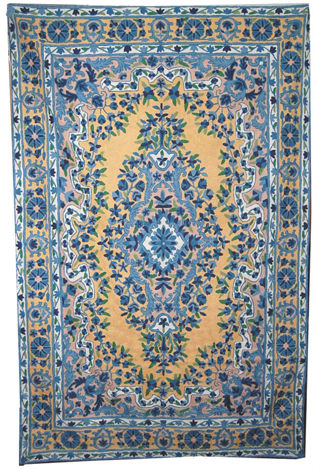 Chain Stitch Embroidered Wool Rug, Blue and Cream Embroidery 6x4 feet #CWR24101