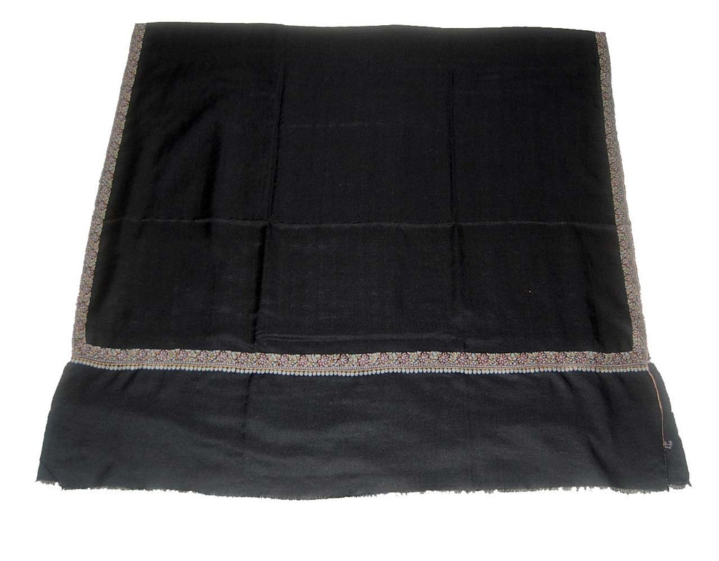 Kashmir Pashmina Cashmere Embroidered Shawl Black, Multicolor #PDR-003
