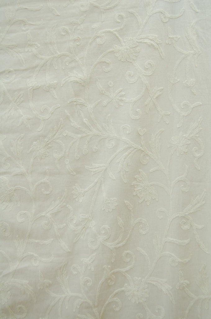 Cotton Crewel Embroidered Bedspread Jacobean, White on White #TML1502