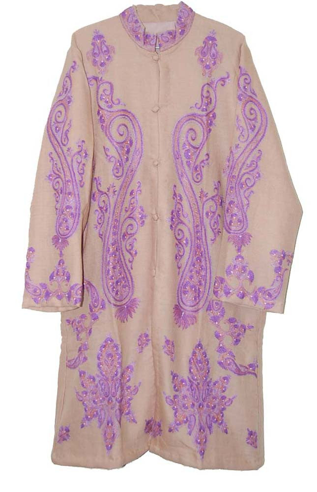 Embroidered Woolen Coat Beige, Purple Embroidery #AO-1233