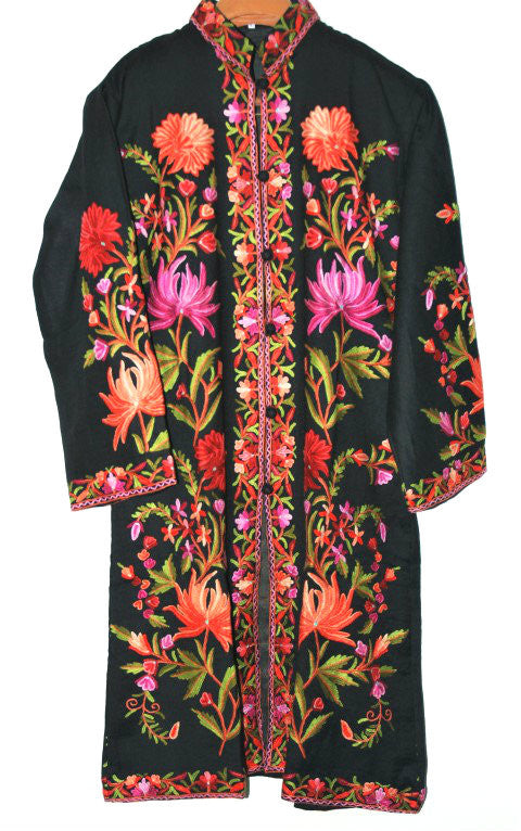 Embroidered Woolen Coat Black, Multicolor Embroidery #AO-132