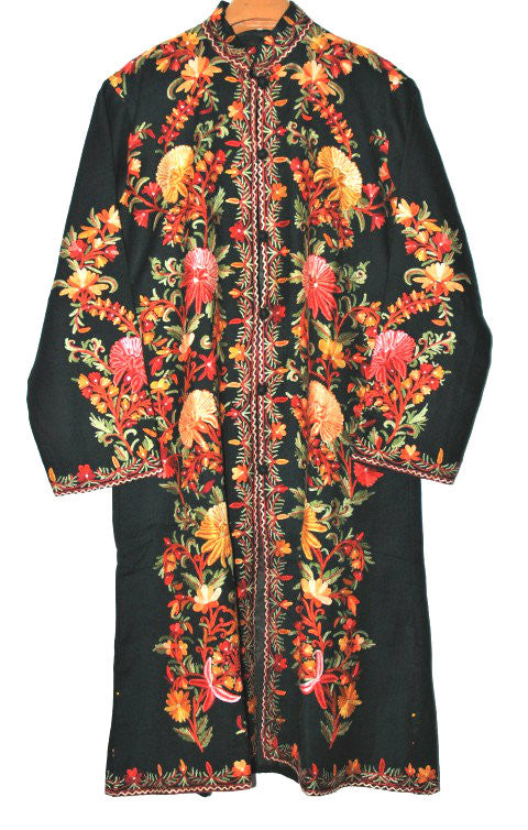 Embroidered Woolen Coat Black, Multicolor Embroidery #AO-133