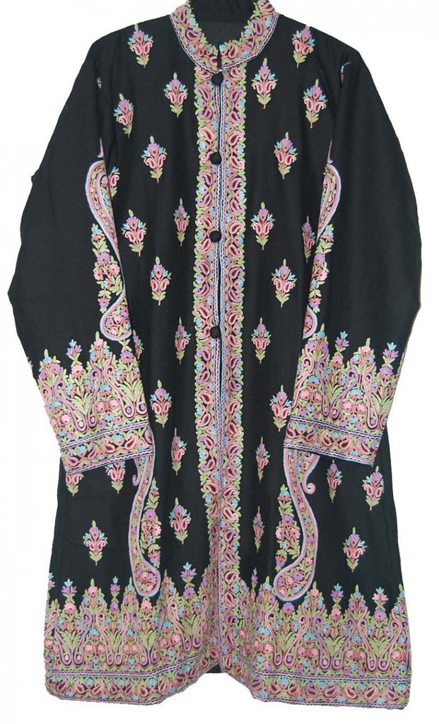 Embroidered Woolen Coat Black, Multicolor Embroidery #AO-1061